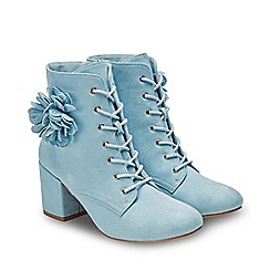 Joe Browns - Pale Blue Suedette 'Clear Skies' High Block Heel Lace Up Ankle Boots