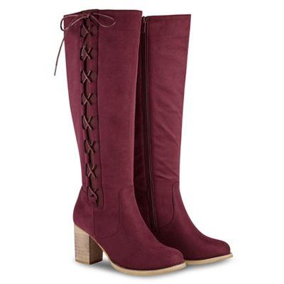 Joe Browns - Dark red suedette high block heel knee high boots