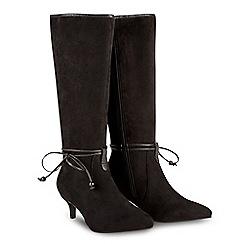 Joe Browns - Black suedette 'Pixie' mid kitten heel knee high boots