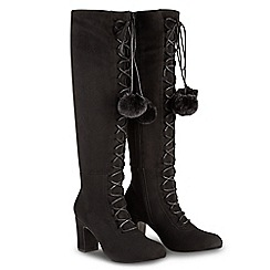 Joe Browns - Black suedette 'Forever Individual Pom Pom' high block heel knee high boots