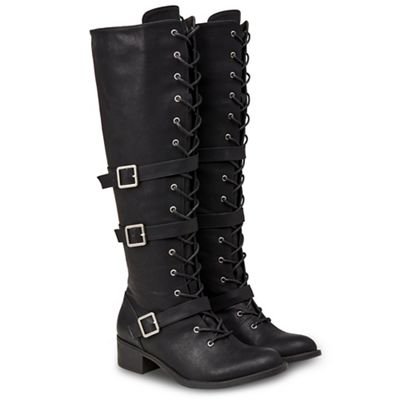 Joe Browns - Black strappy strappy strappy mid block heel knee high boots ba20a0
