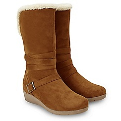 Joe Browns - Tan suedette 'Cosy and Cute' mid wedge heel calf boots