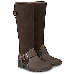 Joe Browns - Brown suede and leather 'Premium' mid block heel riding boots