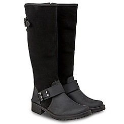 Joe Browns - Black suede and leather 'Premium' mid block heel riding boots