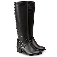Joe Browns - Black 'My Favourite Lace Back' mid block heel knee high boots