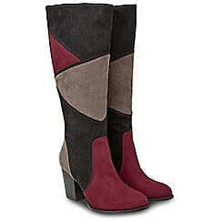 Joe Browns - Multicoloured suedette 'Pretty Patchwork' high block heel knee high boots