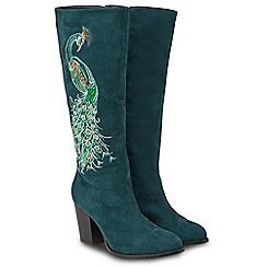 Joe Browns - Dark turquoise suedette 'Perfection' high block heel knee high boots
