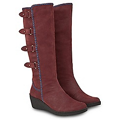 Joe Browns - Dark red suedette 'Madison' mid wedge heel calf boots