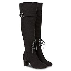 Joe Browns - Black suedette 'Sassy' high block heel over the knee boots
