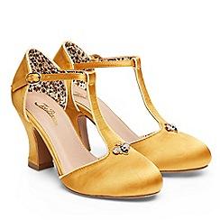 Joe Browns - Gold satin 'Sweet as Honey' high block heel T-bar shoes