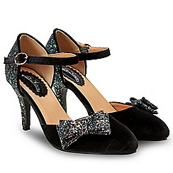 Joe Browns - Black glitter 'Glamour and Glitz' high stiletto heel court shoes
