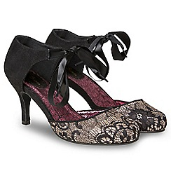 Joe Browns - Black glitter 'Lacey and Lavish' high stiletto heel court shoes