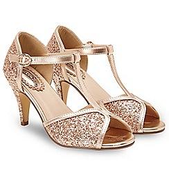 Joe Browns - Gold glitter 'Magical Evening' high stiletto heel T-bar shoes