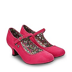 Joe Browns - Bright Pink Suedette 'In The Pink Vintage' Mid Kitten Heel Mary Janes