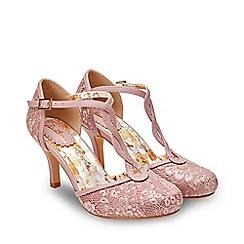 Joe Browns - Pale Pink Lace 'La Vie En Rose' High Stiletto T-Bar Shoes