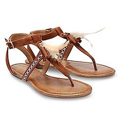 Joe Browns - Tan suedette 'Sunset Beach' T-bar sandals