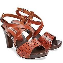 Joe Browns - Dark tan leather 'Bargello' high block heel ankle strap sandals