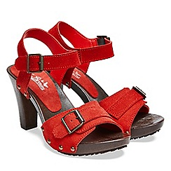 Joe Browns - Bright red suede 'Galileo' high block heel ankle strap sandals