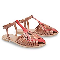 Joe Browns - Multi coloured leather 'Cool and Casual' T-bar sandals
