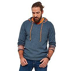 Joe Browns - Blue plain 'mix it up' hooded knit