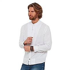 Joe Browns - White plain 'glorious' grandad collar long sleeves regular fit shirt