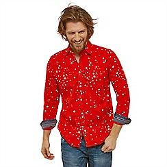 Joe Browns - Red patterned 'star blast' classic collar long sleeves regular fit shirt
