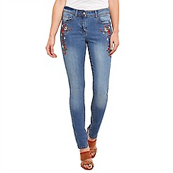 Joe Browns - Mid blue floral embroidered jeans
