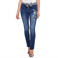 Joe Browns - Mid blue remarkable applique skinny jeans