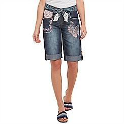 Joe Browns - Mid blue applique boyfriend shorts