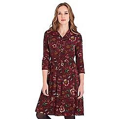 Joe Browns - Dark red floral print 'Flower Field' v-neck knee length shirt dress