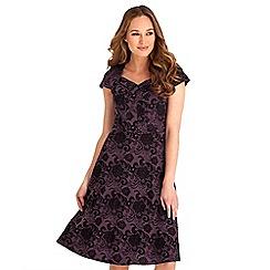 Joe Browns - Purple floral print jersey 'Fabulously Flocked' v-neck knee length dress