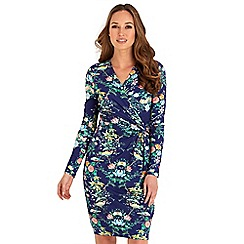 Joe Browns - Blue floral print jersey 'Inspiring' v-neck long sleeve knee length wrap dress