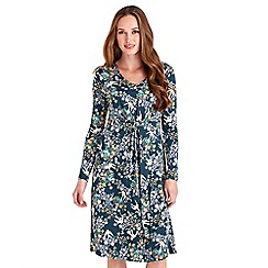 Joe Browns - Dark turquoise bird print jersey 'Effortlessly Elegant' v-neck long sleeves knee length dress