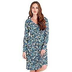 Joe Browns - Green floral print jersey 'Effortlessly Elegant' v-neck long sleeves knee length dress