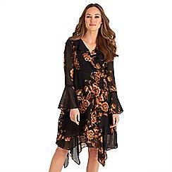 Joe Browns - Black floral print chiffon 'Royal' v-neck long sleeves knee length wrap dress