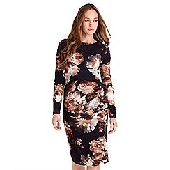 Joe Browns - Multicoloured floral print jersey 'Elegant' long sleeves knee length pencil dress