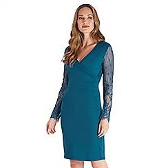 Joe Browns - Dark turquoise plain jersey 'Joe's' v-neck long sleeve knee length wrap dress