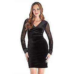 Joe Browns - Black plain velvet 'Wrap Up' v-neck long sleeve knee length wrap dress