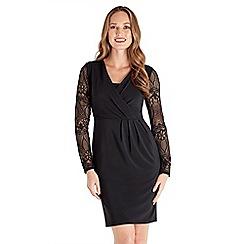 Joe Browns - Black plain jersey 'Simplistic' v-neck long sleeve knee length dress