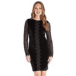 Joe Browns - Black plain velvet 'Desirable' long sleeve short bodycon dress