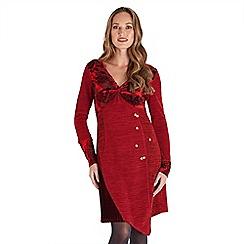Joe Browns - Red plain velvet  'Christmas Spirit' v-neck long sleeve knee length tunic dress