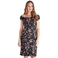 Joe Browns - Multicoloured floral print cotton blend 'Fabulously Fitted' v-neck knee length bodycon dress