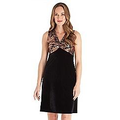 Joe Browns - Black floral print velvet 'Glitz Glam' v-neck short dress