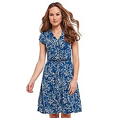 Joe Browns - Blue floral print jersey 'Ditsy Vintage' V-neck knee length tea dress