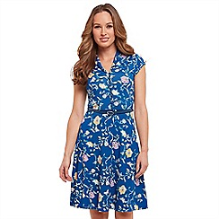 Joe Browns - Dark blue floral print jersey 'Ditsy Vintage' V-neck knee length tea dress