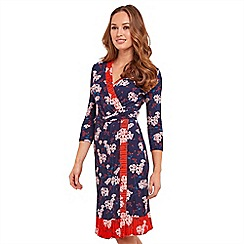 Joe Browns - Multi coloured floral print jersey 'Nautical' V-neck knee length wrap dress