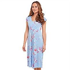 Joe Browns - Light blue floral print jersey 'Sweet Thing' V-neck knee length tea dress