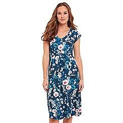 Joe Browns - Blue floral print jersey 'Sweet Thing' V-neck knee length tea dress
