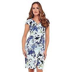 Joe Browns - Blue floral print 'Vivacious' V-neck knee length bodycon dress