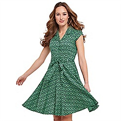 Joe Browns - Green leaf print 'Artistic Vintage' knee length tea dress